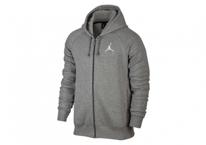 NIKE AIR JORDAN FLIGHT FLEECE HOODY GREY HEATHER