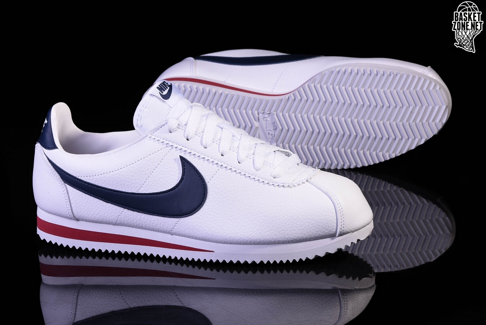 half off def59 e41ec NIKE CLASSIC CORTEZ LEATHER WHITEMIDNIGHT NAVY-GYM RED