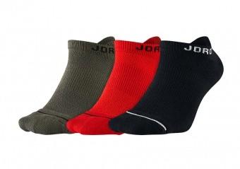 NIKE AIR JORDAN JUMPMAN NO-SHOW SOCKS BLACK UNIVERSITY RED RIVER ROCK