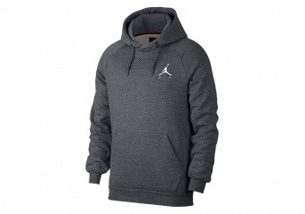NIKE AIR JORDAN JUMPMAN FLEECE PULLOVER HOODIE CARBON HEATHER