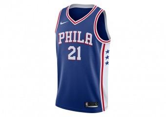 NIKE NBA PHILADELPHIA 76ERS JOEL EMBIID ROAD SWINGMAN JERSEY RUSH BLUE