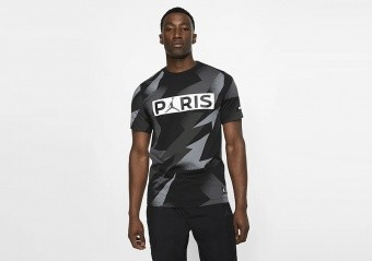 NIKE AIR JORDAN PSG PARIS SAINT-GERMAIN JOCK TAG TEE BLACK