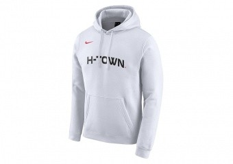 NIKE NBA HOUSTON ROCKETS LOGO FLEECE HOODIE WHITE