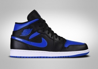 NIKE AIR JORDAN 1 RETRO MID BLACK HYPER ROYAL