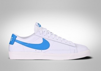 NIKE BLAZER LOW LEATHER WHITE BLUE SWOOSH