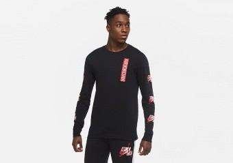 NIKE AIR JORDAN JUMPMAN CLASSICS LONG-SLEEVE CREW TEE BLACK