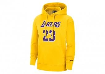 NIKE NBA LOS ANGELES LAKERS LEBRON JAMES ESSENTIAL PULLOVER HOODIE AMARILLO